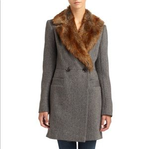 French Connection Faur Fur Tweed Wool Coat